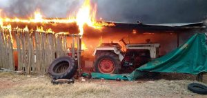 farm machinery on fire